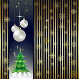 Christmas tree and balls on a gold background