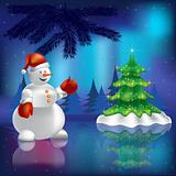 Christmas tree and snowman in the woods