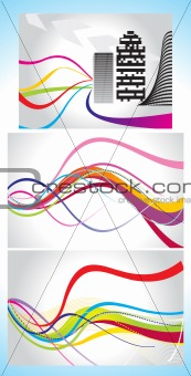 abstract  colorul wave background set