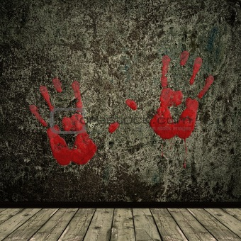 grunge interior and hands print