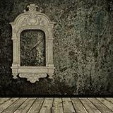 grunge interior with vintage frame
