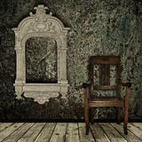 grunge interior with chair and vintage frame