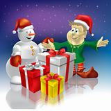 christmas snowman and dwarf with gifts