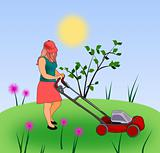 Girl  with Lawn Mower.