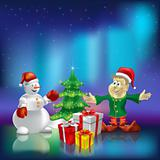 christmas tree wiyh gifts on aurora borealis background
