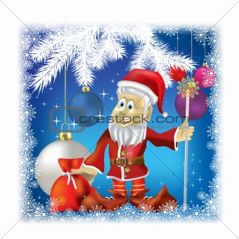 Santa Claus with gifts on blue background