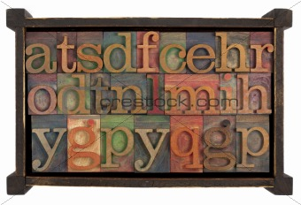 alphabet in rusti wooden box