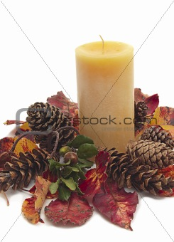 Candle with autumn leaves and pine cones on white