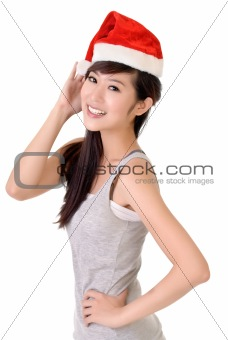 Asian beauty with Santa Claus hat