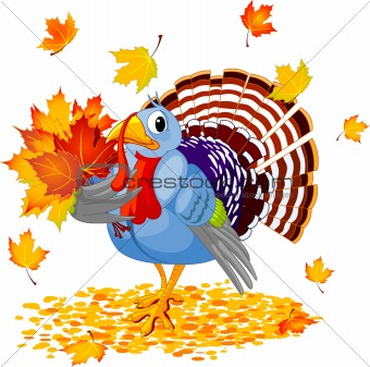 Cartoon Turkey with autumn bouquet