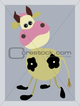 portrait of the cow on gray background