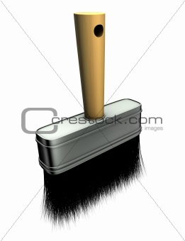 3d render of paint brush over white