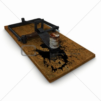 3d trap illustration on oil spill disaster