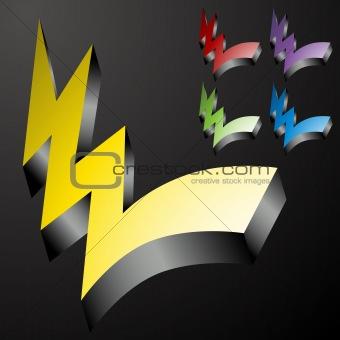 Three Dimensional Checkmark Lightning Bolts