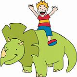 Child rides a dinosaur