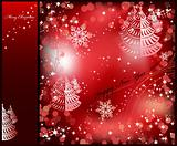 Red background with sparkles star. Vector