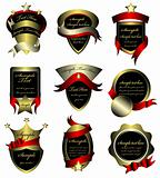 Vector Set Of Gold Framed Labels