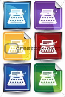 3D Sticker Set - Typewriter
