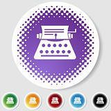 Half Tone Round Button Set - Typewriter