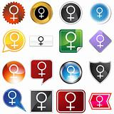 Venus Planetary Sign Icon Set