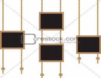 Framed boards on ropes