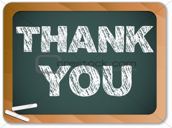 Blackboard with Thank You Message written with Chalk