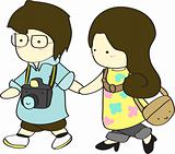 Cute boy and girl walking together cartoon vector illustration