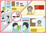 Anti smoking campaign cartoon vector illustration