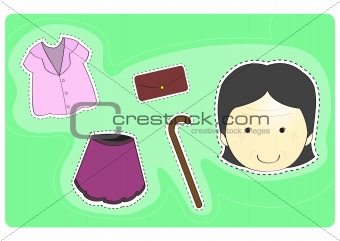 Old woman with variety of clothes for dress-up cartoon vector illustration