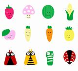 Mixed fruits and vegetable with insect cartoon vector illustration