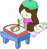 Young girl painting picture on table cartoon vector illustration