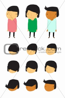 Group of children with face animation cartoon vector illustration