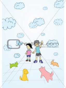 Boy and girl enjoy playing with animal in the garden cartoon vector illustration