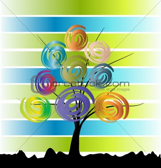 Three on color background. Vector