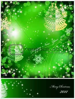 Green background with sparkles star. Vector