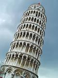 Leaning tower of Pisa over sky