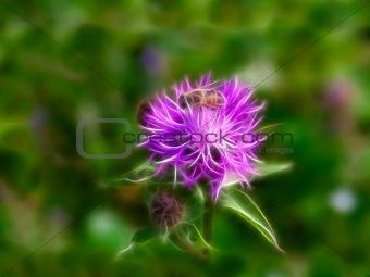 Fractal bee at flower