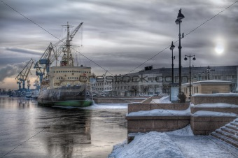 Old icebreaker at sea port