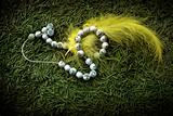 Beads and yellow feather