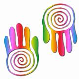 Vector illustration of hand colorful prints