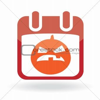 Calendar icon with  jack o' lantern