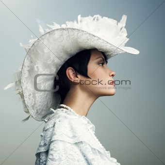 Woman in vintage cap