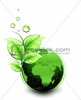 Planet Ecology green design. Vector