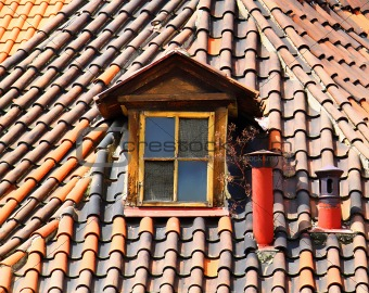 old tiles roof and window