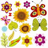 Set decorative  isolated flowers and  butterflies