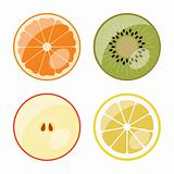 Fruit - vector web icons (buttons)