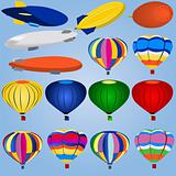 Airship And Balloon Icons
