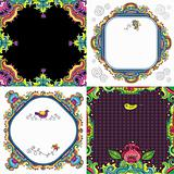 Colorful floral cards set
