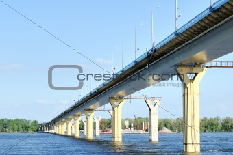 Bridge on the river Volga, Russia