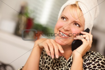 Attractive Smiling Caucasian Woman Talking on Her Cell Phone.